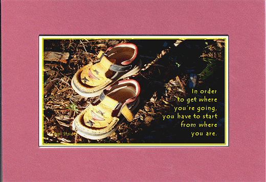 Picture of two child shoes and the saying,