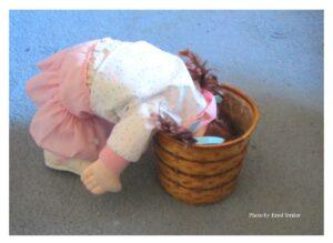 Doll looks in basket