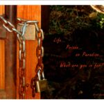 Lock on door with caption,
