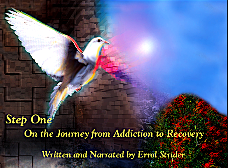 Cover of booklet Step One on Journey from Addiction to Recovery. Picture of Dove with moon over mountain